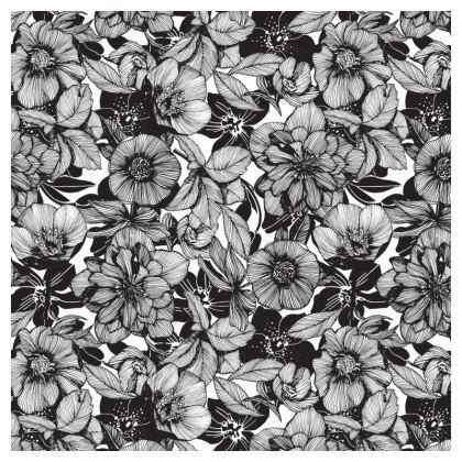 Hellebore lineart florals Square ornametal bowl