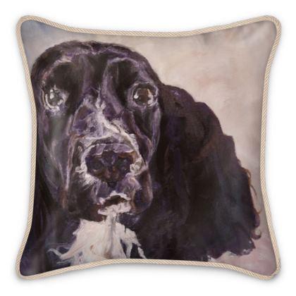 Monty the Spaniel Fine Art Silk Cushion by Somerset (UK) Artist and Designer Amanda Boorman