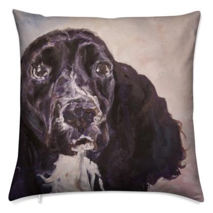 Monty the Spaniel Luxury Fine Art Cushion Cover by Somerset (UK) Artist Amanda Boorman