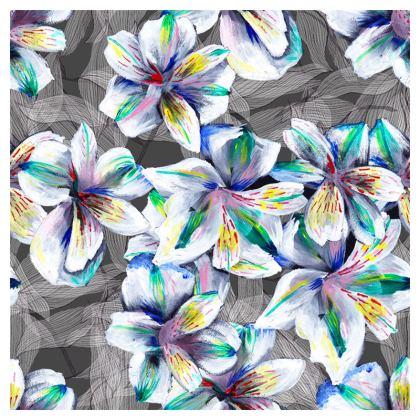 Colourful alstroemeria coaster