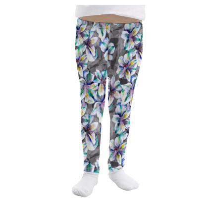 Colourful alstroemeria girls leggings