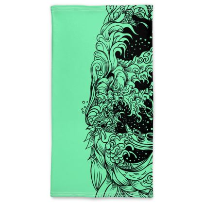 wave green Neck Tube Scarf