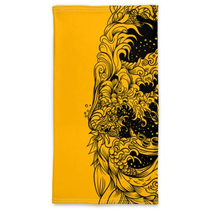wave black yellow Neck Tube Scarf