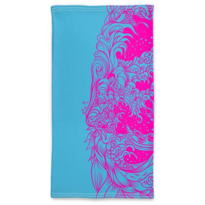 wave blue pink Neck Tube Scarf