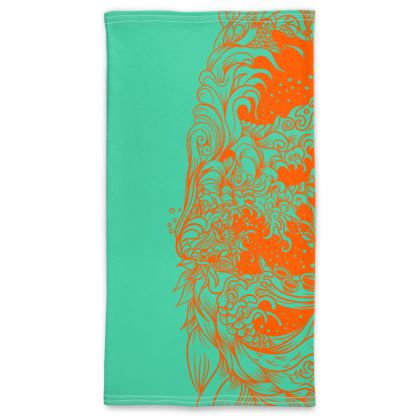wave orange green Neck Tube Scarf