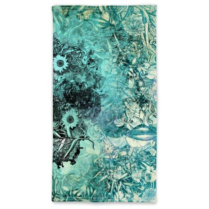 Blue Floral Skull Neck Tube Scarf