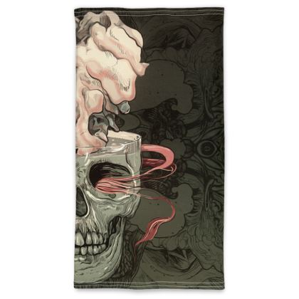 skull with red fish Neck Tube Scarf