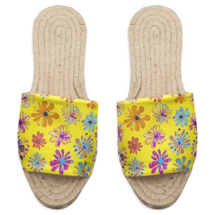 Rainbow Daisies Collection on yellow Sandal Espadrilles