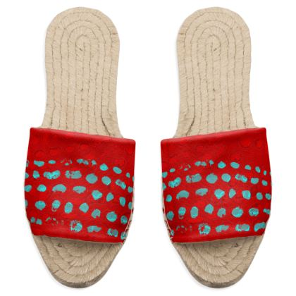 Textural Collection in red and turquoise Sandal Espadrilles