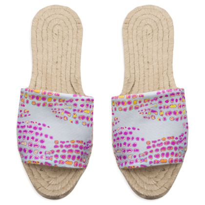 Textural Collection in grey and magenta Sandal Espadrilles