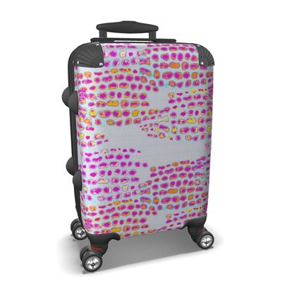 Textural Collection in grey and magenta Suitcase