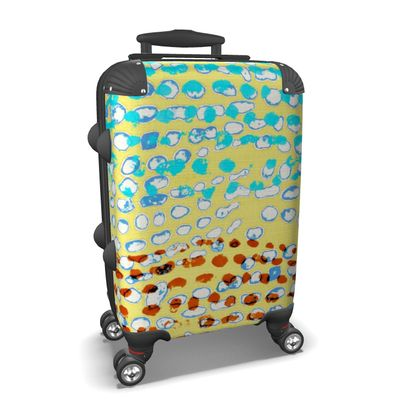 Textural Collection multicolored in beige and turquoise Suitcase