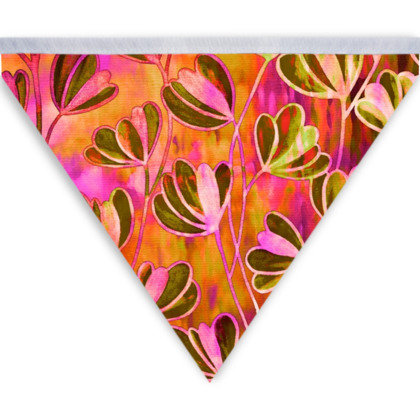 Efflorescence, Watermelon Floral Pink Orange Bunting