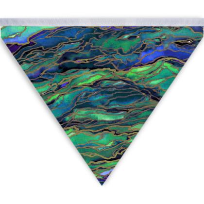 Marble Idea! Deep Blue Sea, Blue Green Coastal Bunting