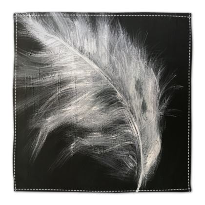 Black and White Feather Table Napkin