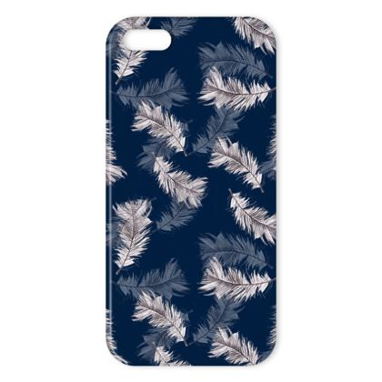 Navy feather iPhone cover