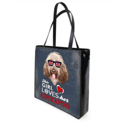 Retro Cockapoo design.This girl loves her Cockapoo shopper bag