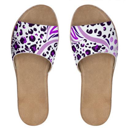 purple lilac animal print leather sliders
