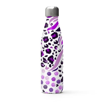 purple lilac animal print stainless steel thermal bottle