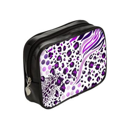purple lilac animal print make up bag