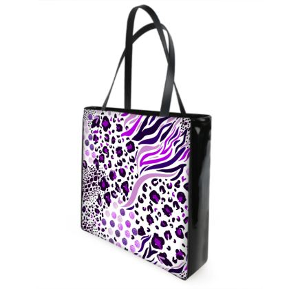 purple lilac animal print shopper bag