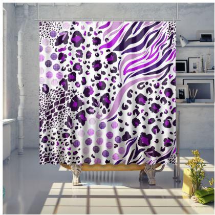 purple lilac animal print shower curtain