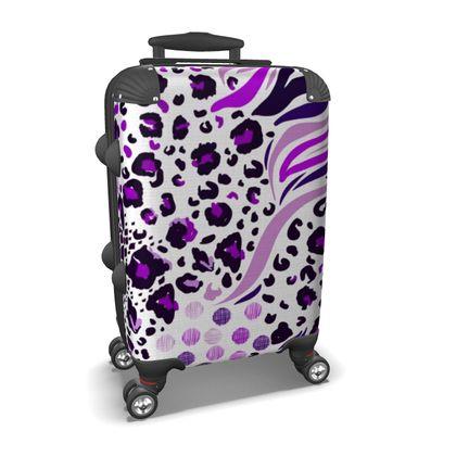 purple lilac animal print suitcase