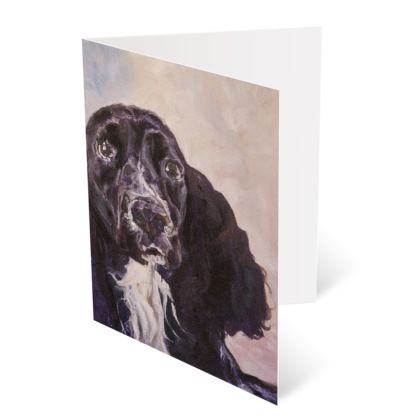 Personalised Monty the Spaniel Fine Art Occasions Card by Somerset (UK) Artist Amanda Boorman