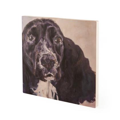Monty the Spaniel Vintage Style Fine Art Wood Print by Somerset (UK) Artist Amanda Boorman