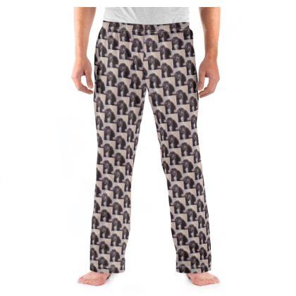 Monty the Spaniel Fine Art Print Mens Pyjama Bottoms by Somerset (UK) Artist and Designer Amanda Boorman