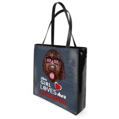 Retro style shopper bag chocolate Cockapoo design