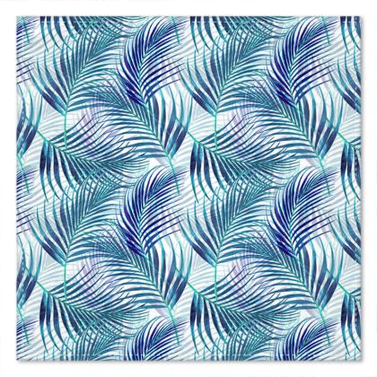 Tropical Garden in Blue Collection Pocket Square