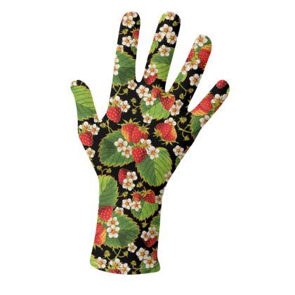 Botanical Strawberries on Black Gloves