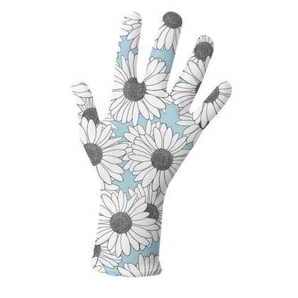 Daisy Blocks Blue and Mint - Gloves