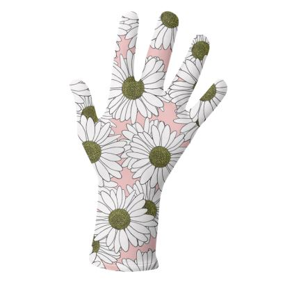 Daisy Pink and Black Boarder - Gloves