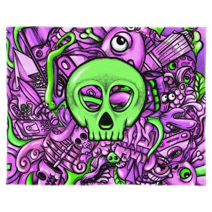 Green Skull Scarf Wrap Or Shawl