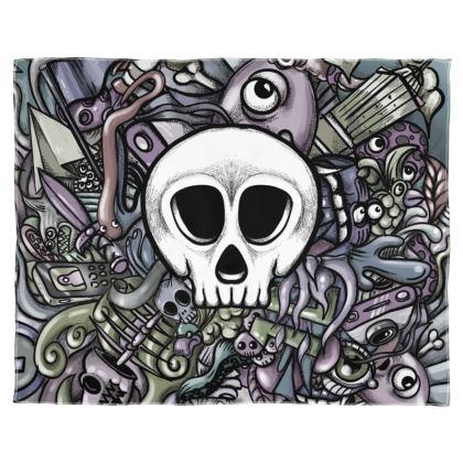 White skull Scarf Wrap Or Shawl