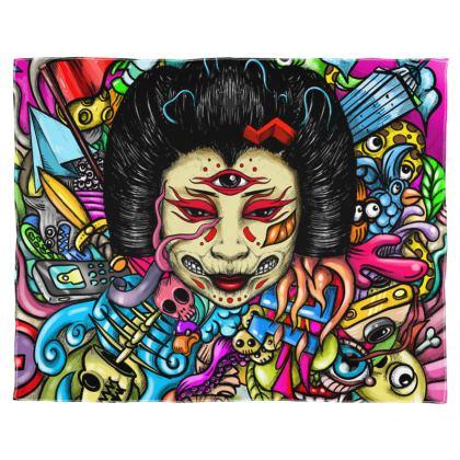 Gueisha Doodles Scarf Wrap Or Shawl
