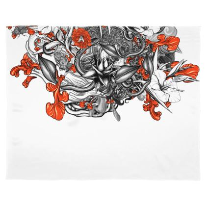 Floral White Scarf Wrap Or Shawl