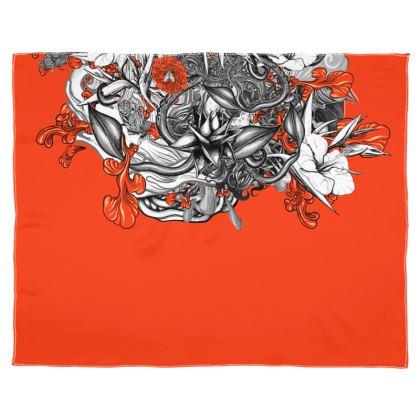 Floral Orange Scarf Wrap Or Shawl