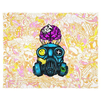 Doodles Gas Mask Scarf Wrap Or Shawl