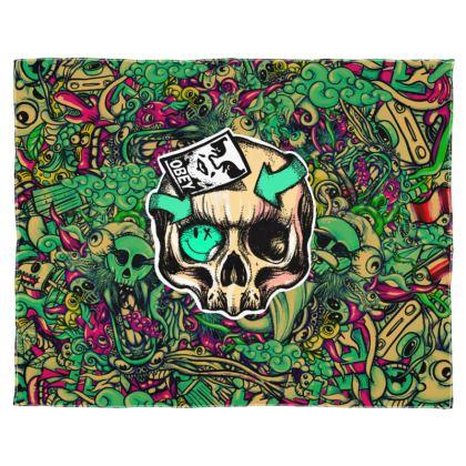 Doodles Skull Scarf Wrap Or Shawl