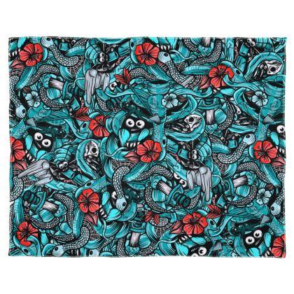 Doodles Bones Blue Scarf Wrap Or Shawl