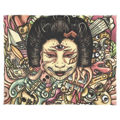 Gueisha doodles flat Scarf Wrap Or Shawl