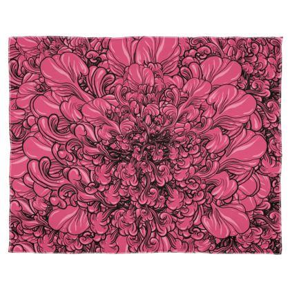 Pink Flower Scarf Wrap Or Shawl