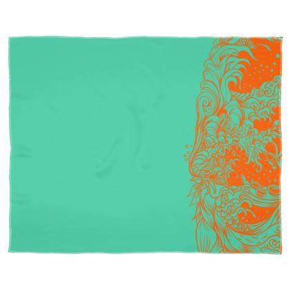 Blue Orange wave Scarf Wrap Or Shawl