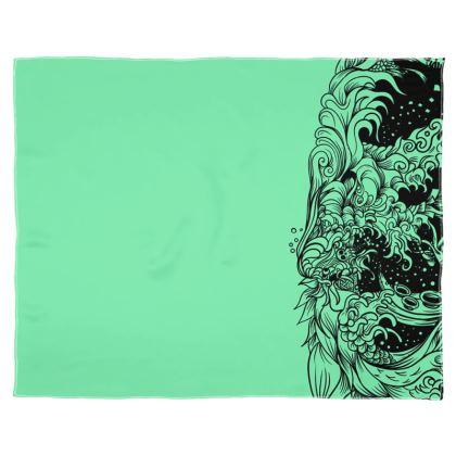 Green Wave Scarf Wrap Or Shawl