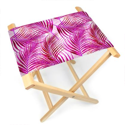 Tropical Garden in Magenta Collection Folding Stool Chair