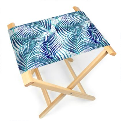 Tropical Garden in Blue Folding Stool Chair