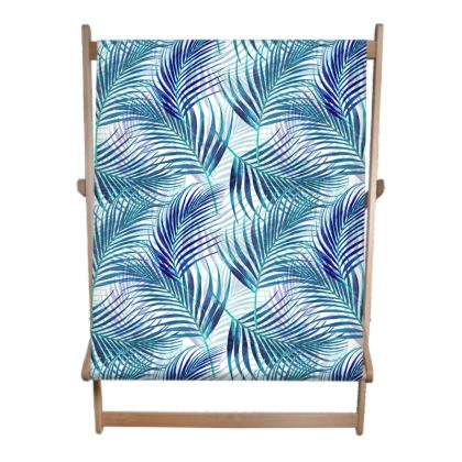 Tropical Garden in Blue Double Deckchair